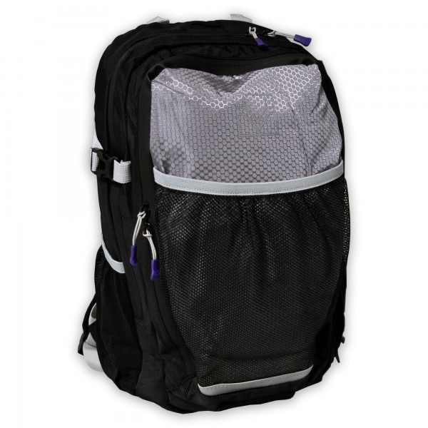 Rucksack, schwarz/grau/violett