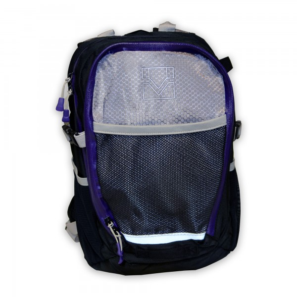 Kinder-Rucksack, schwarz/grau/violett