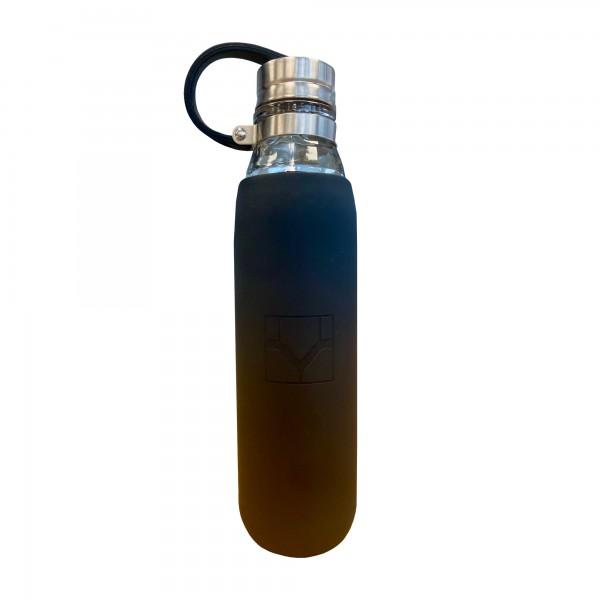 Glas-Trinkflasche mit Silikonhülle